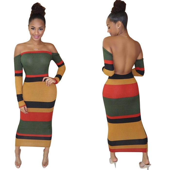 Robe dos nu Femmes Robes Sexy Slim manches longues Robe moulante Mode Patchwork Party Femmes Nigth Club Robes Vêtements