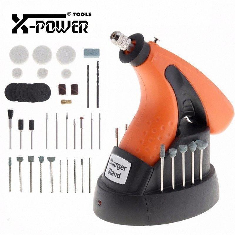 X-Power-Multi-Funktions-Akku-3.6V Minibohrmaschine Elektroschleifer Poliermaschine Gravur Elektrowerkzeuge und Variable 43pcs Bits 3bXg #