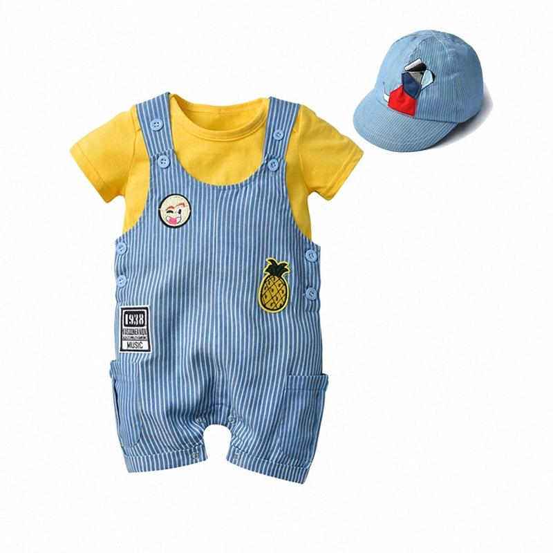Симпатичные новорожденных Toddle Infant младенцев мальчиков собак Cap + Общий + Bodysuit Короткие рукавов комбинезон хлопок летние Нижнее Одежда 1-3 Y p0bQ #