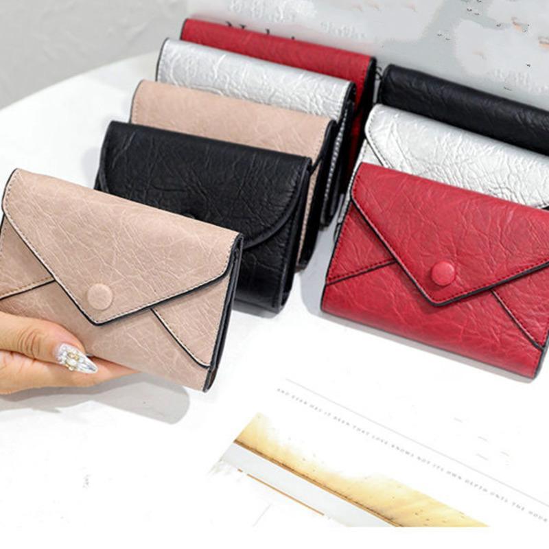 إمرأة المحافظ مصغرة محافظ النقدية للطي حقيبة بطاقة محفظة جلدية محفظة متعدد الألوان الطبقية حامل سيدة محفظة الكلاسيكية سستة الجيب مع مربع