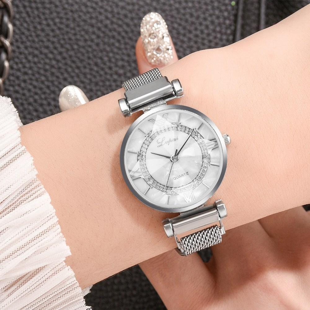 Mode kleine einfache diamonnd dünne legierung metalluhren magnetband mesh für frauen damen studenten dress quarz armbanduhren