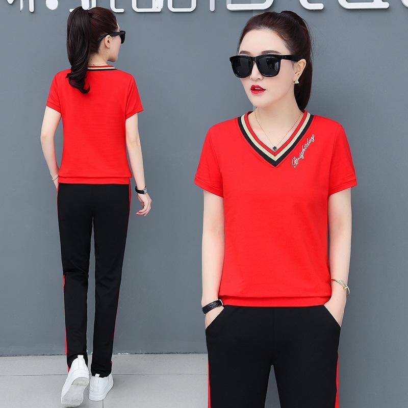 Xp3z2 4rebw 2020 deportes de ocio traje de verano coreano estilo de mujer estilo de mujer moda con cuello en V de moda para adelgazar ropa deportiva suelta lar