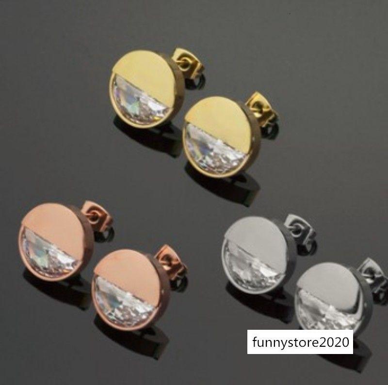 Nuovo disegno classico superiore di pietra di qualità della CZ 3 colori dei monili delle donne in acciaio inox Stravagante Orecchini in Lovers orecchini all'ingrosso