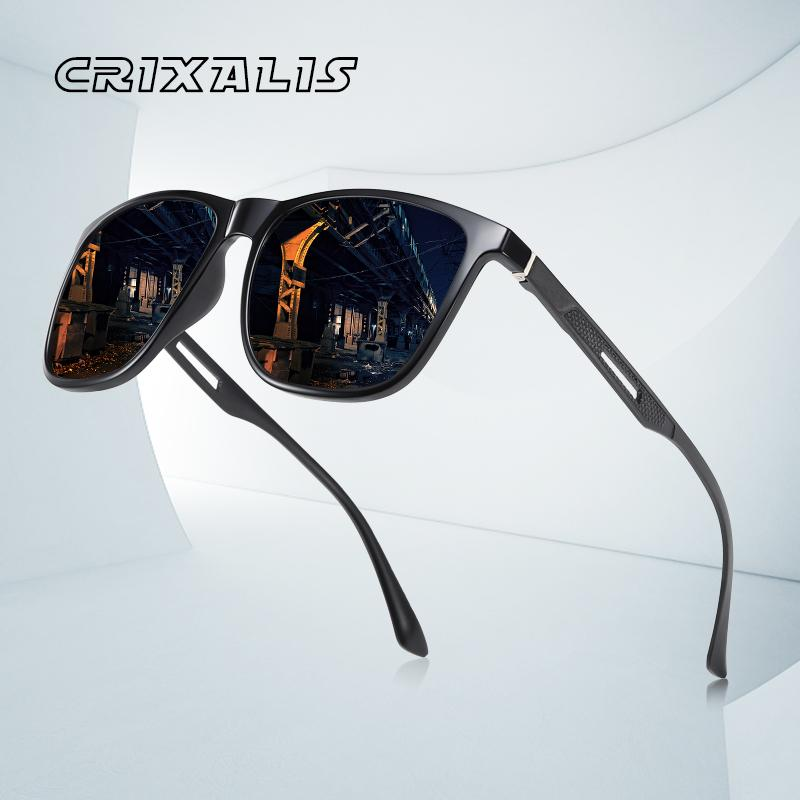 CRIXALIS Marka Tasarım Polarize Güneş Gözlüğü Erkek Alüminyum Magnezyum Temple Moda Kare Sürüş Erkek Güneş Gözlükleri Ayna UV400