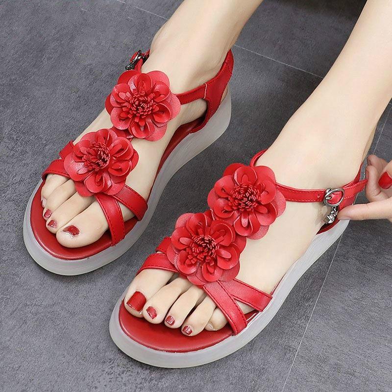 2020 talones verano Low mujer sandalias antideslizante inferior suave de gran tamaño sandalias rojas flor de las muchachas Zapatos mujeres del cuero genuino