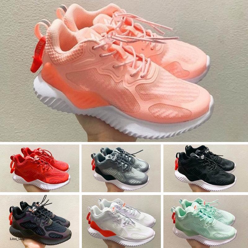 AdidasAlphaBounce Çocuk Koşu ayakkabıları Bebek Sneaker Çocuk spor ayakkabı açık kızlar ve erkekler Yüksek kaliteli Tenis ayakkabıları Eğitmen boyutu 28-35
