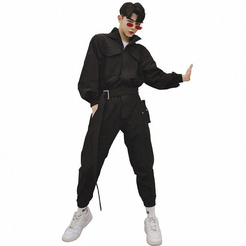 Primavera originais macacão masculino tendência hip hop ferramental capuz nove calças casuais solta de manga comprida macacão terno HR77 #