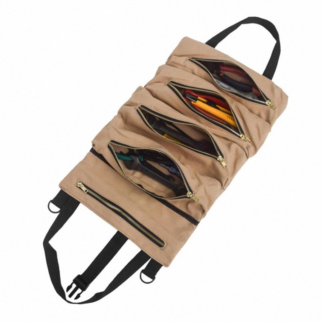 Ferramentas com alça Interior Organizador Storage Bag Hanging Auto Canvas Roll Up Car Back Seat Dobrável grande capacidade Zipper Encerramento hBoN #