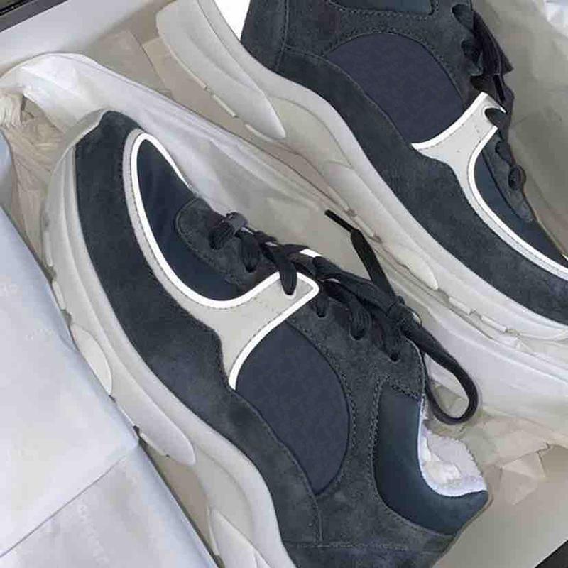 Top Calfskin Sneaker Hommes Femmes Reflective Plate-forme Chaussures de sport Rose Gris Noir Léger Bas Filles Chaussures de course avec la boîte EU46