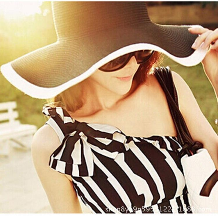 Büyük kenar güneş şapkası açık plaj güneş hasır şapka katlama Kadın güneş siyah ve beyaz saman şerit