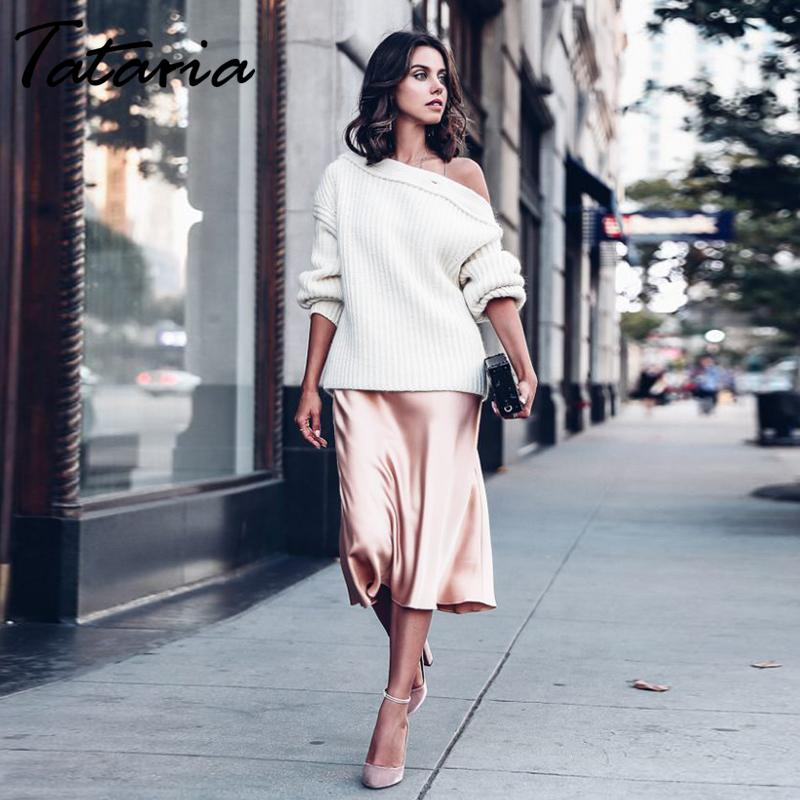 Tataria High Waisted for Silk Satin 2020 A-Line Elegant Skirts Women Midi Skirt New Korean Style T200803