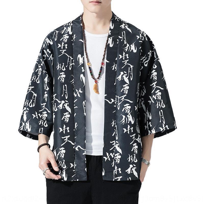 g1fpn 2020 gran tamaño cosechado japonesa literarias de los hombres de la manga imprimieron fina chaqueta de punto kimono kimono Tang traje traje traje estilo chino Tang