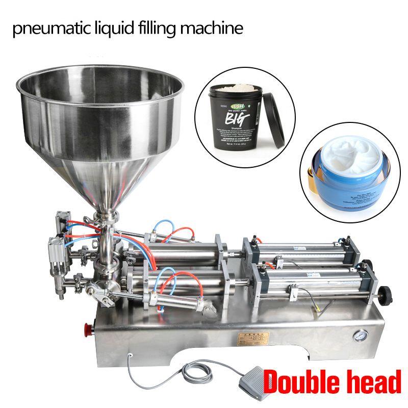 DHL Free! 10-300ml Double heads filling machine Automatic pneumatic hopper Shampoo moisturizer lotion Cosmetic oil honey