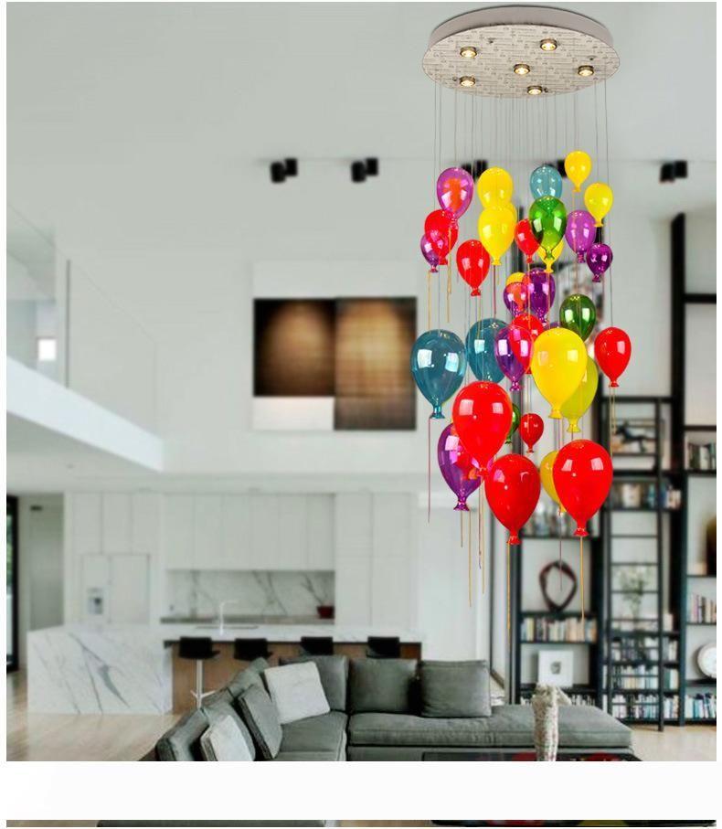 Suspensão Bola de vidro Lâmpadas LED Modern Multi Color Balloon Pendant Light For Children Room Living Room Stair Luz AL121