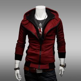 fashion casual slim contrast color hoodie men's Coat sweater Hoodie sweater thin coat