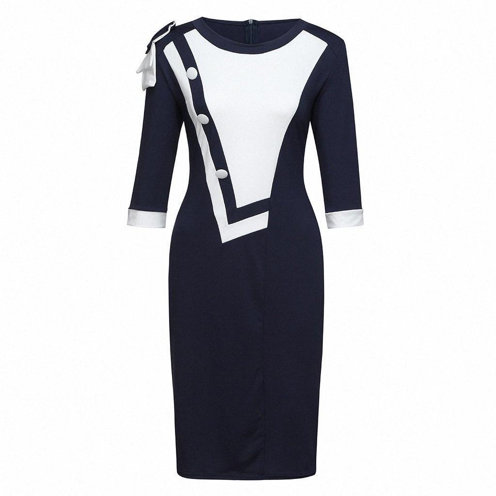 Hxroolrp 2019 Automne Nouveau Sexy Femmes bowknot épaule Zipper Retour Color Block Patchwork manches 3/4 Robe fourreau # F1 UKFE