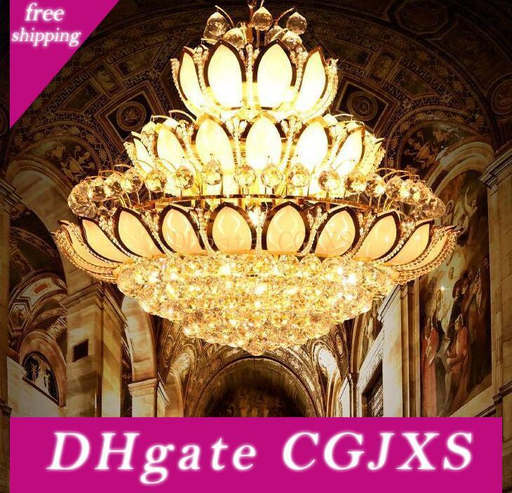 أدى كريستال الثريات أضواء تركيبات كريستال الحديثة زهرة اللوتس الذهبي الثريا كريستال قلادة مصابيح الرئيسية داخلي فندق أندية MYY