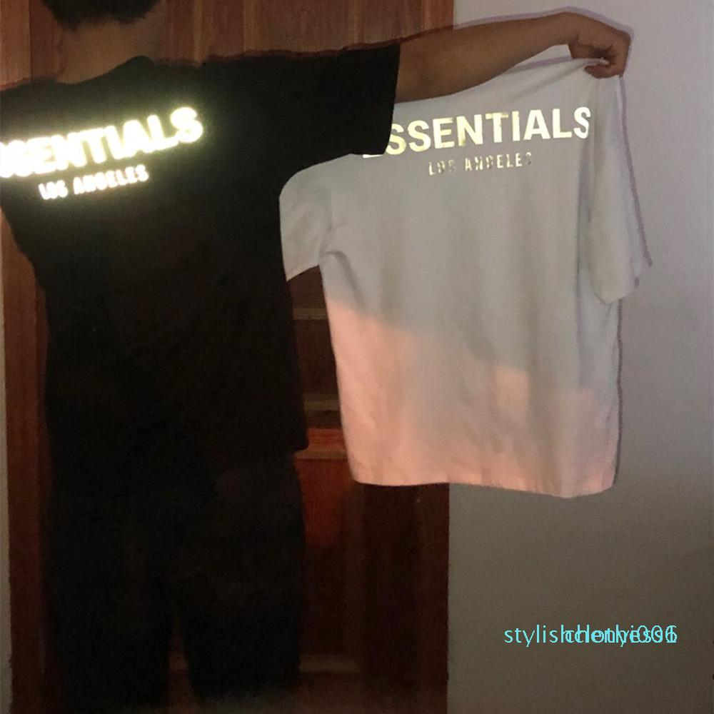 shirt do desenhista das mulheres dos homens Camisa Kanye West Unisex FOG Fear Of God T-Shirt Essentials 3M reflexiva Hip Hop Streetwear Verão Tee Tops z47Bs06