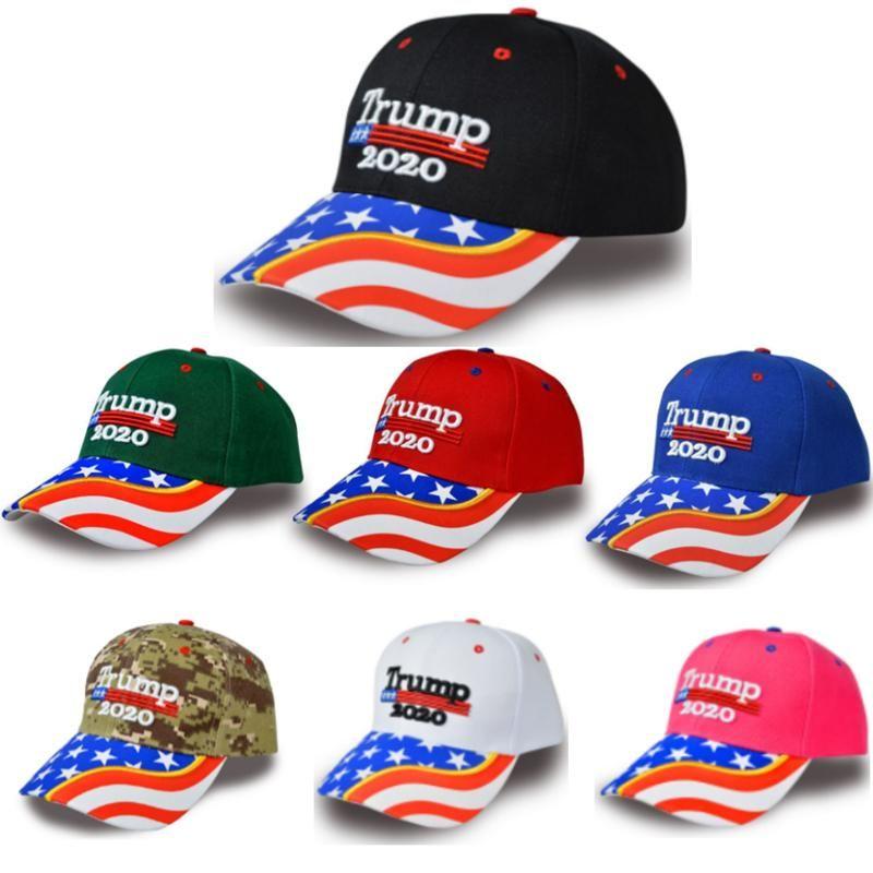 Bisiklet Caps açık Caps Bisiklet DHL Ücretsiz Gemi Donald Trump kap ABD Kamuflaj şapka Keep Amerika Büyük 2020 Şapka ayarlanabilir spor golf Şapkalar
