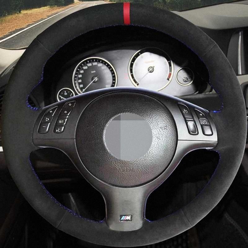 E39 E46 için el dikişli Siyah Hige Süet Deri DIY Araç Direksiyon Kapak 330i 540i 530i 525i 330Ci M3 2001 2002 2003 s4KL #