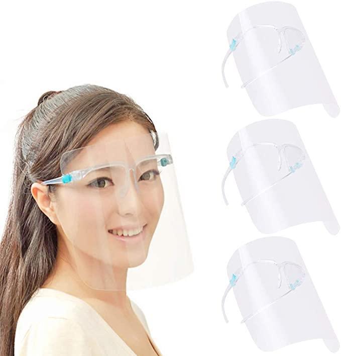 ABD Stok Emniyet faceshield Şeffaf Tam Yüz Kapak Koruyucu Film Aracı Anti-sis Premium PET Malzeme Yüz Kalkanı
