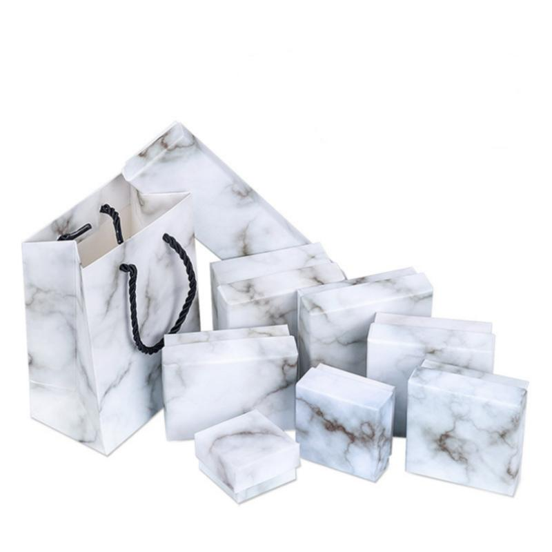 New Paper Cardboard Jewelry Boxes Storage Display Carrying Box For Necklaces Bracelets Earrings Square Rectangle Marble White Gift Box