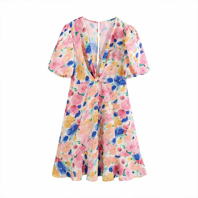 Neue Frauen-Bogendekoration V-Ausschnitt verknotet gekräuseltes gedrucktes Kleid Retro Blumen gedrucktes Kleid weibliche kurz kurzärmeliges
