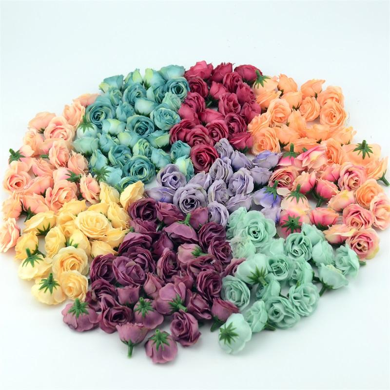 100pcs 2.5cm Mini Silk Artificial Rose Flower Heads For Wedding Party Home Decoration DIY Accessories Fake Flowers Craft