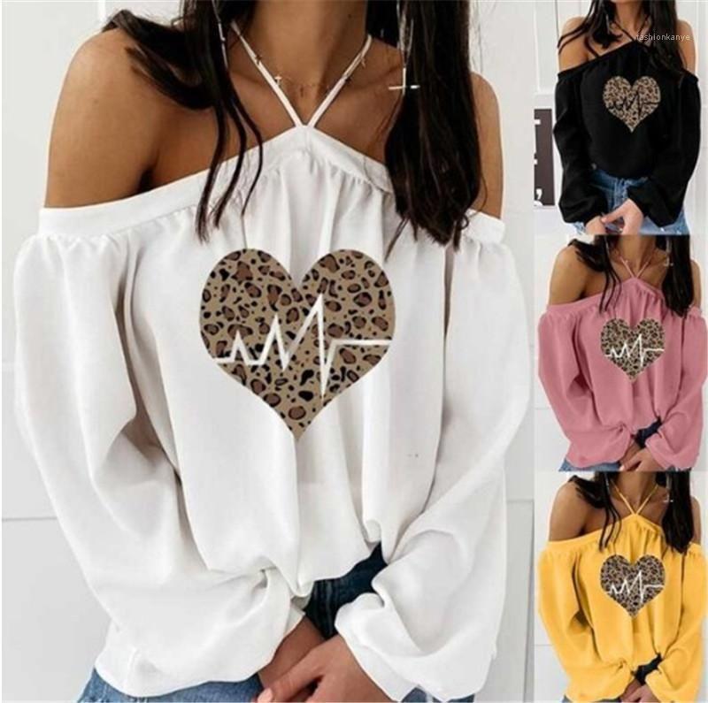 Femmes T-shirts Mode modèle de coeur de couleur naturelle T-shirt manches longues col Slash Casual manches T-shirts Vêtements femme Nouveau
