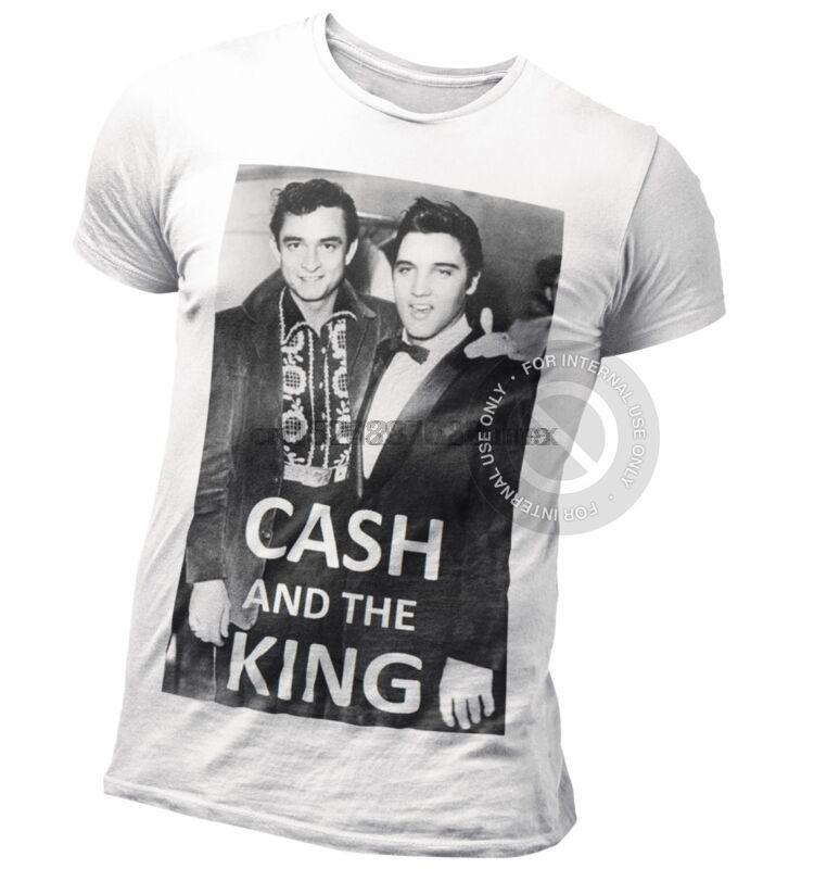 Cash e The King T-shirt Johnny Cash vs Elvis Presley Meeting Rock N Roll icone (1)