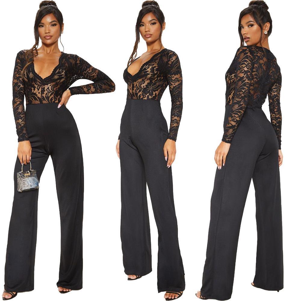 2020 New roupas baratas China Macacões atacado europeus e norte-americanos das mulheres de macacão Moda rendas sexy costura macacão magro