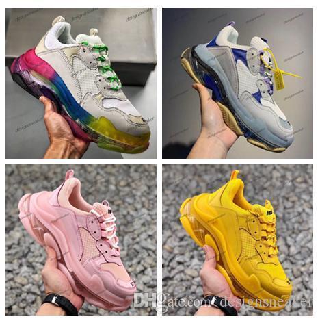 Paris Luxo 2019 Triple S 17fw pai Walking Shoes arco-íris de cristal Fashion Designer New Mens Mulheres Casual Clunky Sneakers Vintage Shoes
