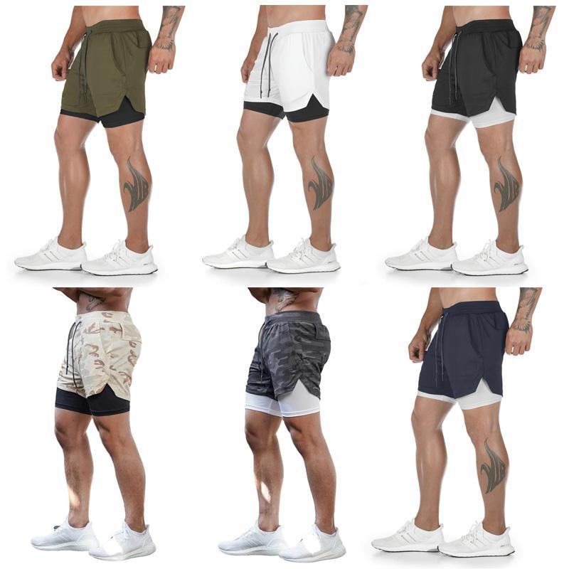 Erkek Sweatpants Running Şort Çift Katmanlı Koşu Şort Hızlı Kurutma Plaj Koşu 2 1 Gym Jogger Egzersiz Giyim