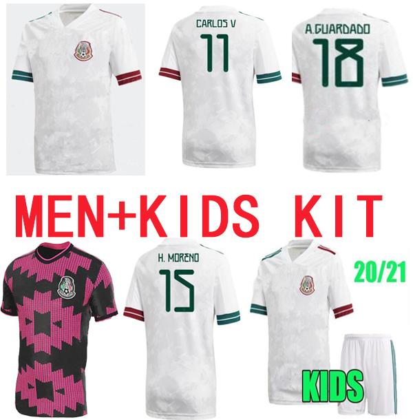 Crianças homens 20 21 México Jersey 2020 Home Vermelho # 14 Chicharito # 22 H.Lozano Camiseta C.vela A.Guardado Futebol Uniforme