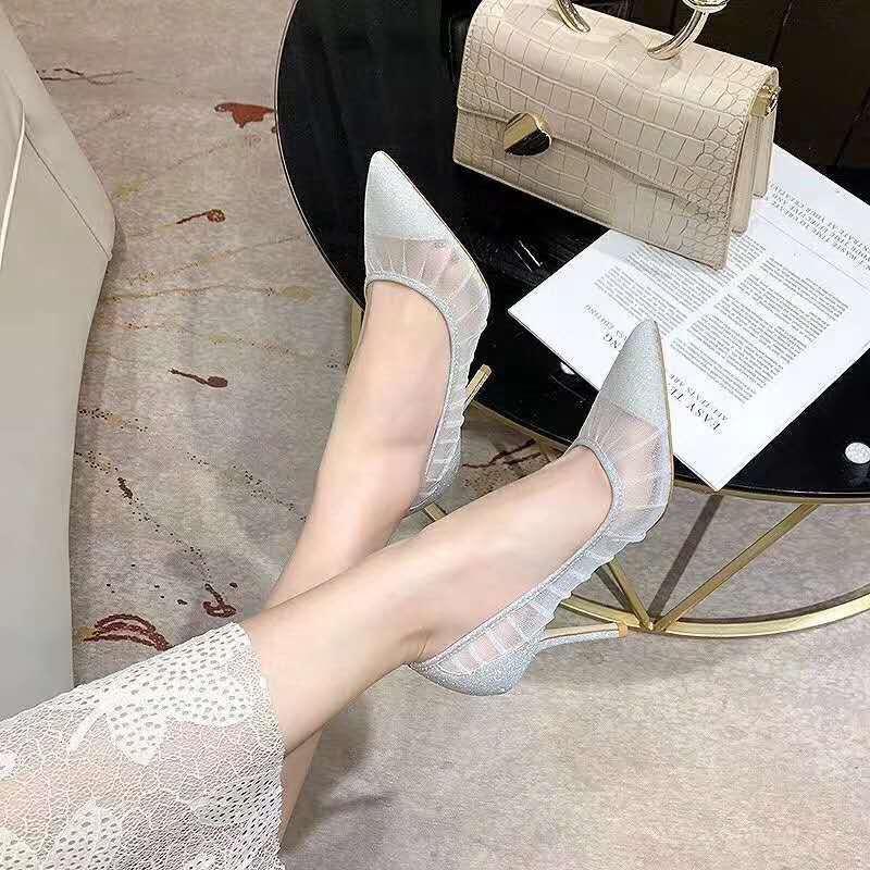 Metallic Silver Glitter Tecido Bombas com Ivory Tulle Overlay noiva Salto Wedding Shoes Designer Eu 3 Para 40 Tradingbear