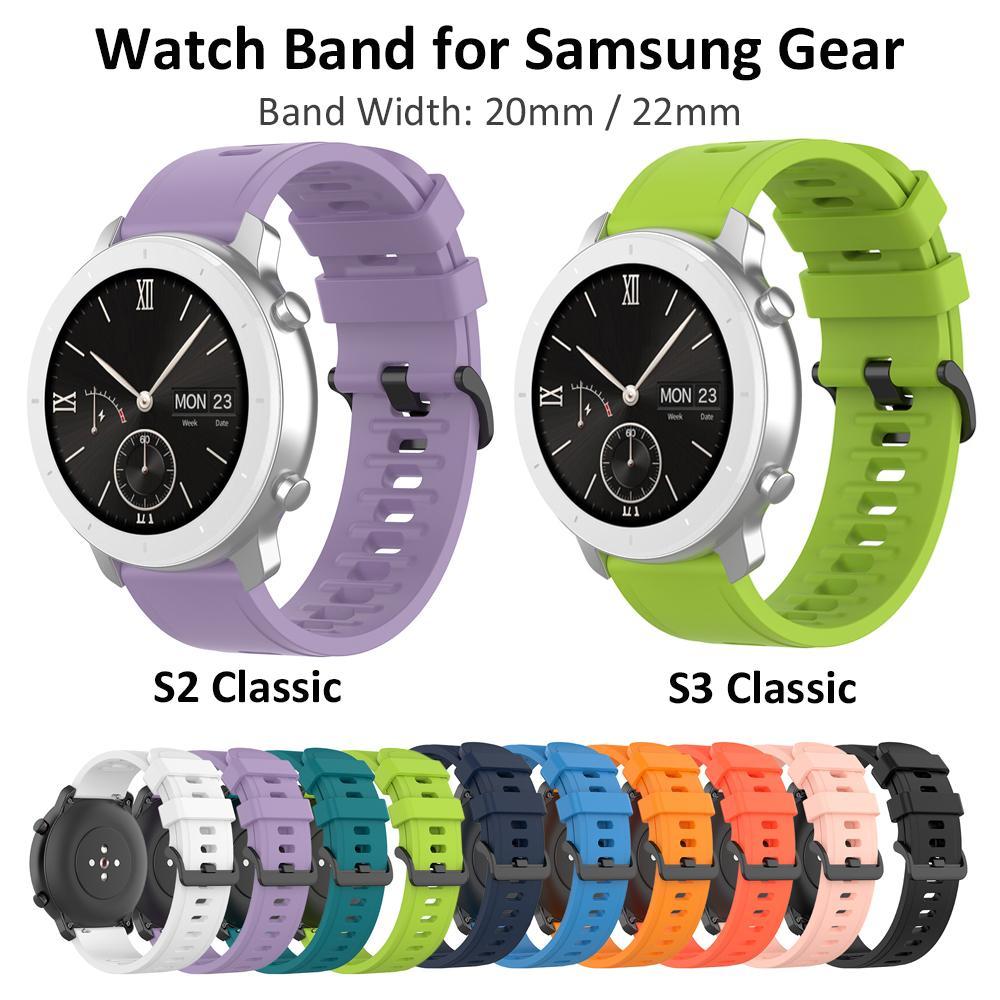20 millimetri 22 millimetri braccialetto del silicone la cinghia per Samsung Galaxy Guarda il 42/46 millimetri Gear S2 / S3 Classico Attivo 2 40/44 millimetri Sport Rubber Band