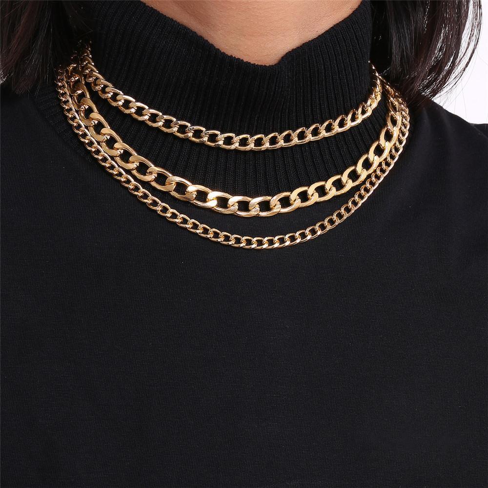 Урожай Многослойной Чокеры 3 стилей цепи Комбинация тонкой и грубой цепи золота серебряные ожерелья