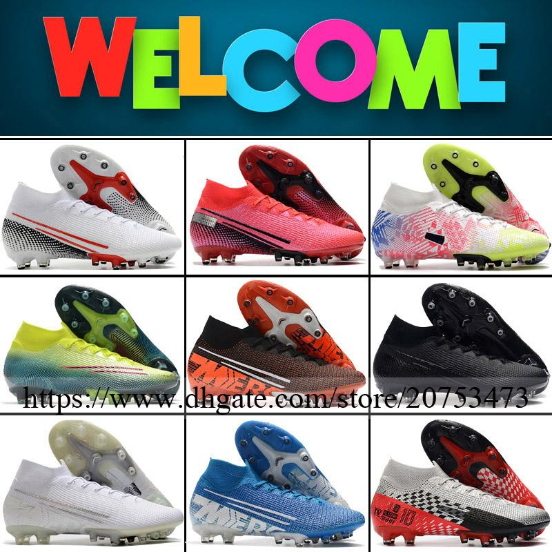 Mercurial Superfly VII Elite AG Spikes Mens Football Shoes Soccer Cleats High Ankle Outdoor CR7 Neymar Trainers Socks ACC Football Boots