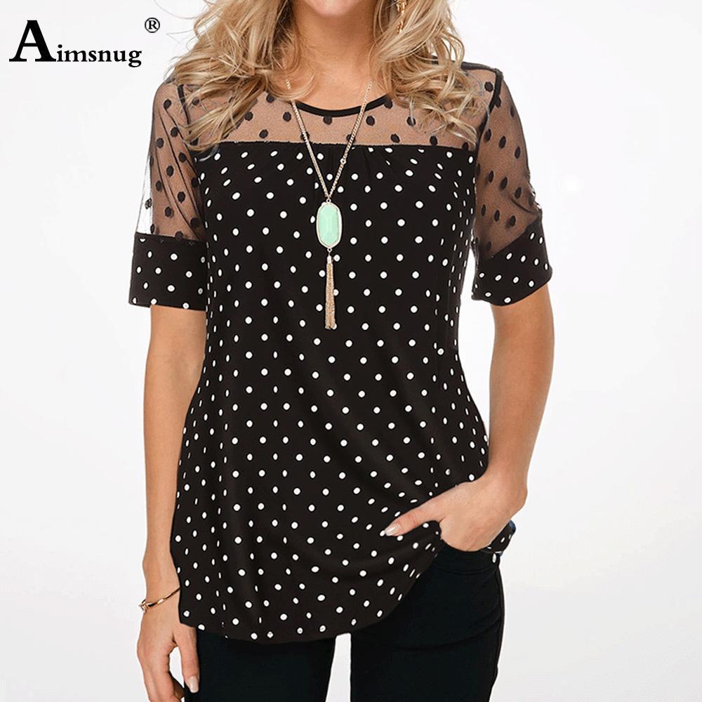 Plus Size pois Tee Shirt parti superiori delle donne girocollo Splice Mesh breve estate del manicotto casuale allentato maglietta femminile signore vestiti S-5XL