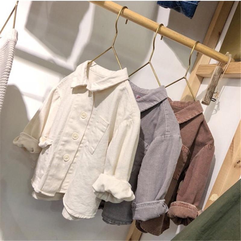 JK Qualidade mais novo INS crianças meninas camiseta Tatting Cotton Fahions camisa Outono manga longa bolsos frontais topo bountique chothes crianças