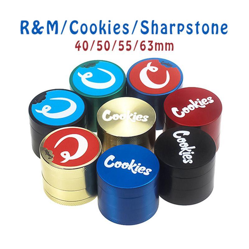 Bitkisel Öğütücü Metal 40/50 / 55 / 63MM çapı Çerezler RM Sharpstone 4 yarı Çinko Alaşım Çok renkliler Tütün Kırıcı toptan