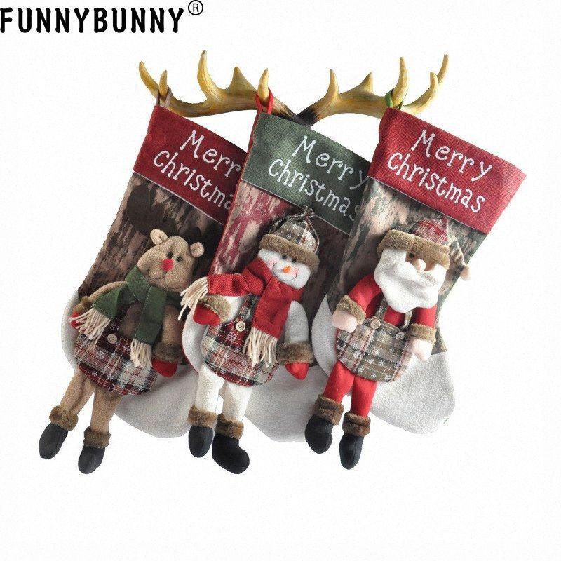 FUNNYBUNNY Decoraciones de Navidad regalos de dulces Bolsas grandes muñeco de nieve ornamentos del regalo de Santa Claus Bolsas muñeco de nieve Elk qujk #