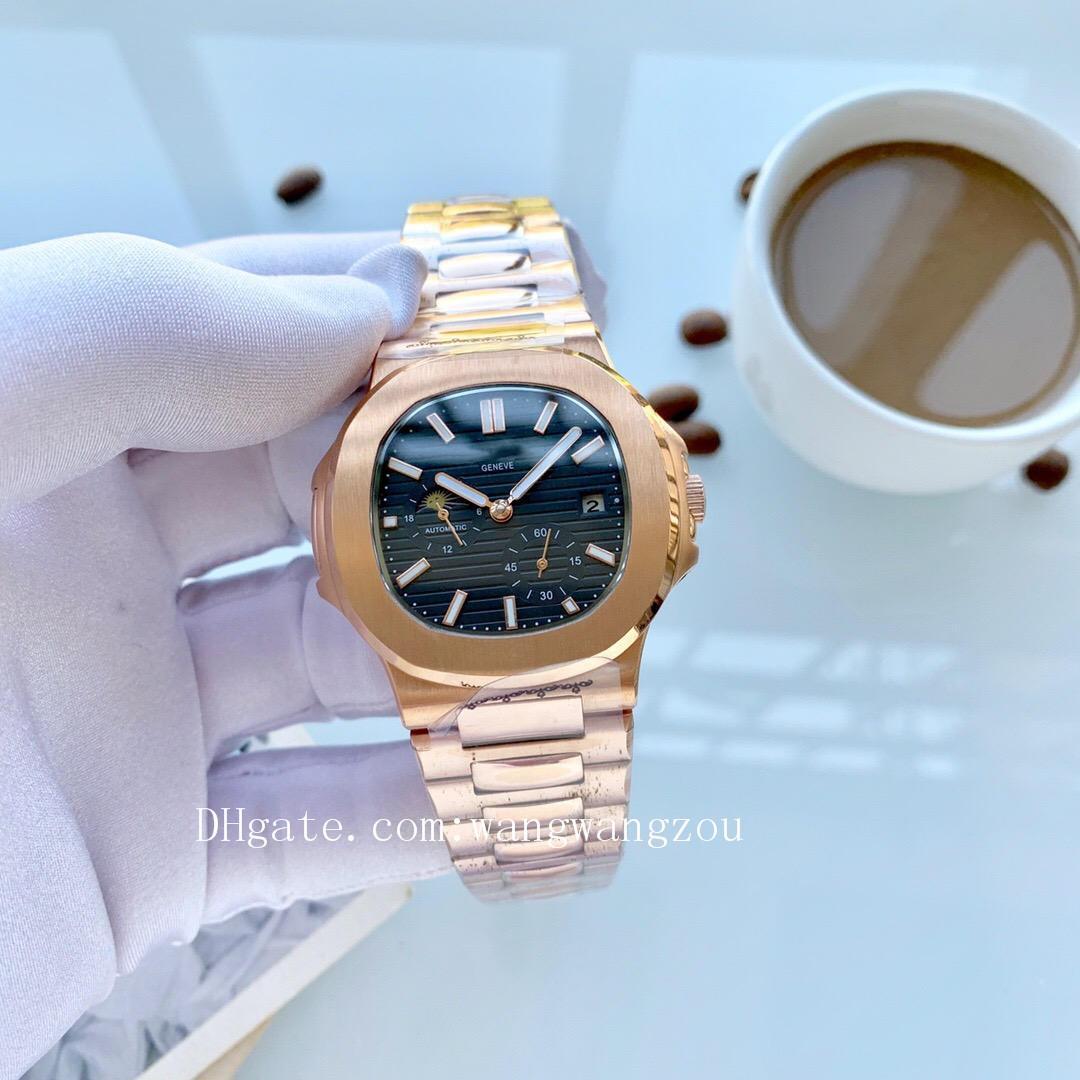 les hommes de la marque de design de luxe de haute qualité montres nautilus rose la qualité de l'or PP montres-bracelets mens Pátek montre D2012