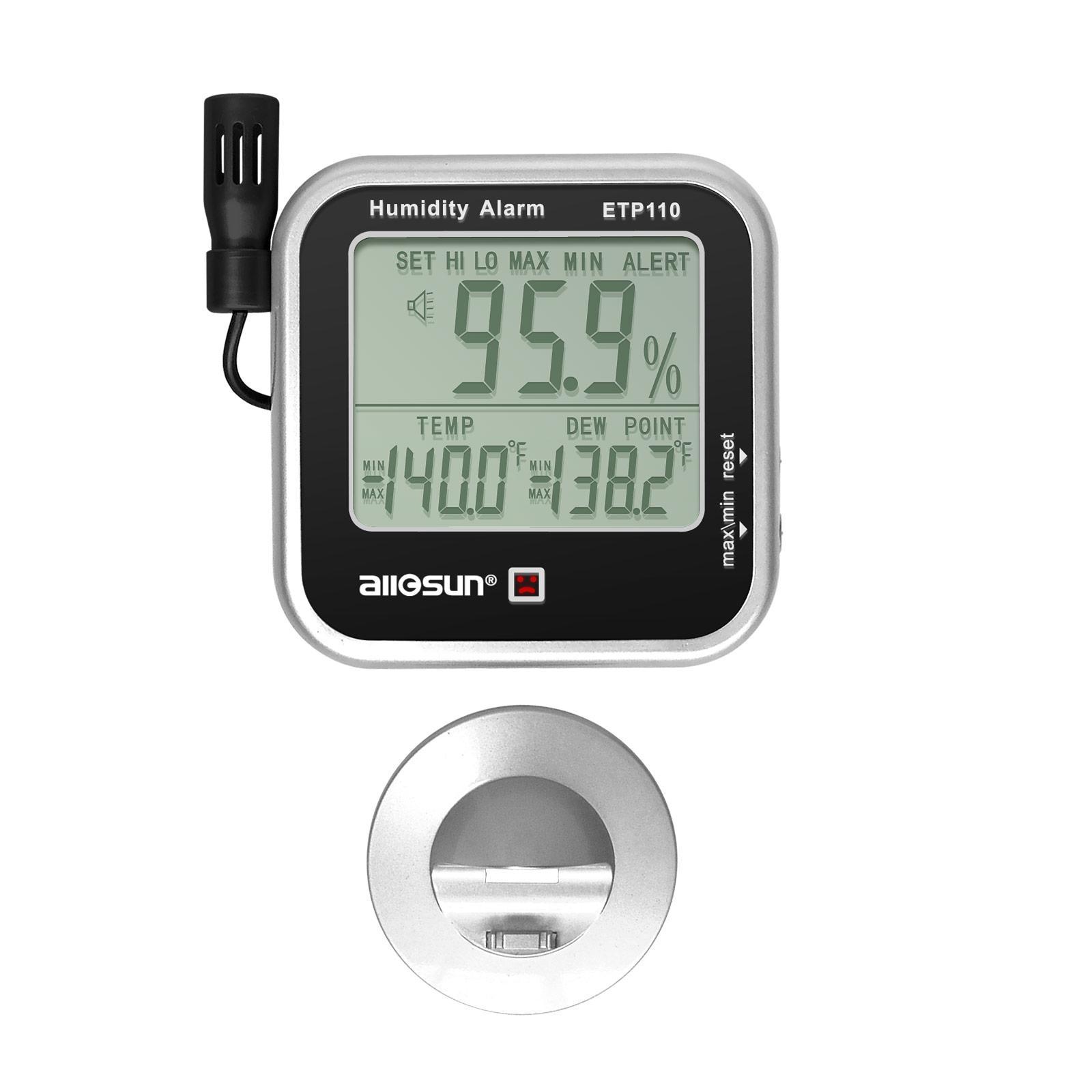 디지털 실내 열 습도계 습도 및 온도 모니터 알람 대형 LCD 디스플레이 이슬점 테스터 모든 Sun ETP110