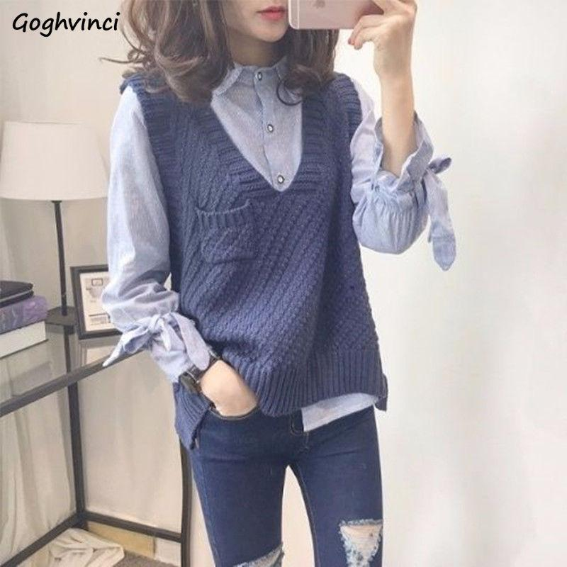 Sweater Vest Women V-neck Solid Pocket Loose Simple Knitted Casual Womens Elegant Autumn Daily Outwear All-match Sweaters New