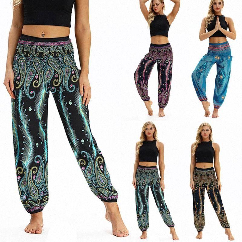 # H40 Leggings Mulheres Casual calças largas calças largas Boho Aladdin Jumpsuit Harem Pants esporte cintura alta Legging Feminino nDjp #
