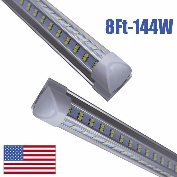 En forma de V 2 pies 3 pies 4 pies 5 pies 6 pies 8 pies refrigerador de la puerta del LED tubos T8 LED integrado Tubos lados dobles llevó las luces de la Fixture En EE.UU.