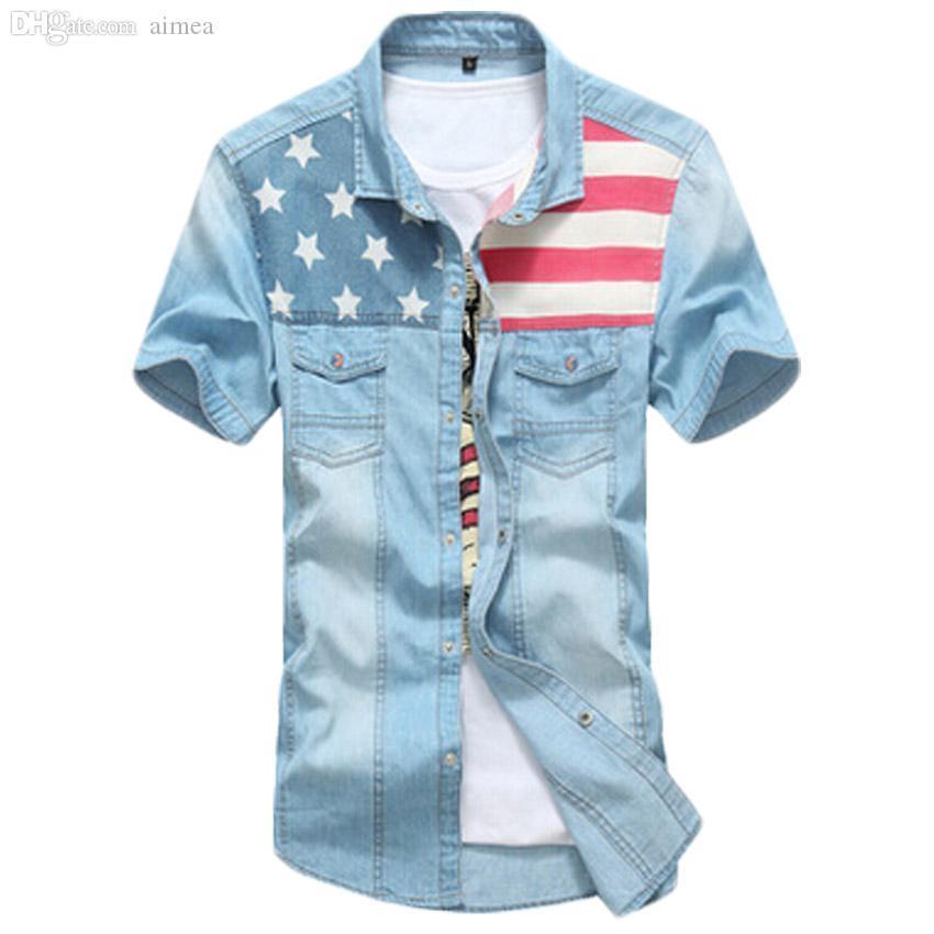 Wholesale-2016 Марка Мужские рубашки Американский флаг хлопок отложной воротник джинсовой рубашки мужчин коротким рукавом Мужской джинсовой рубашки 33hfx