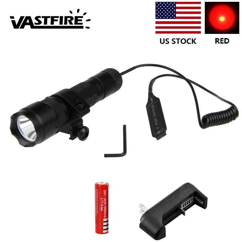 WF-502B Red LED Tactical Hunting Torch+Remote Pressure Switch+Light Mount Gun