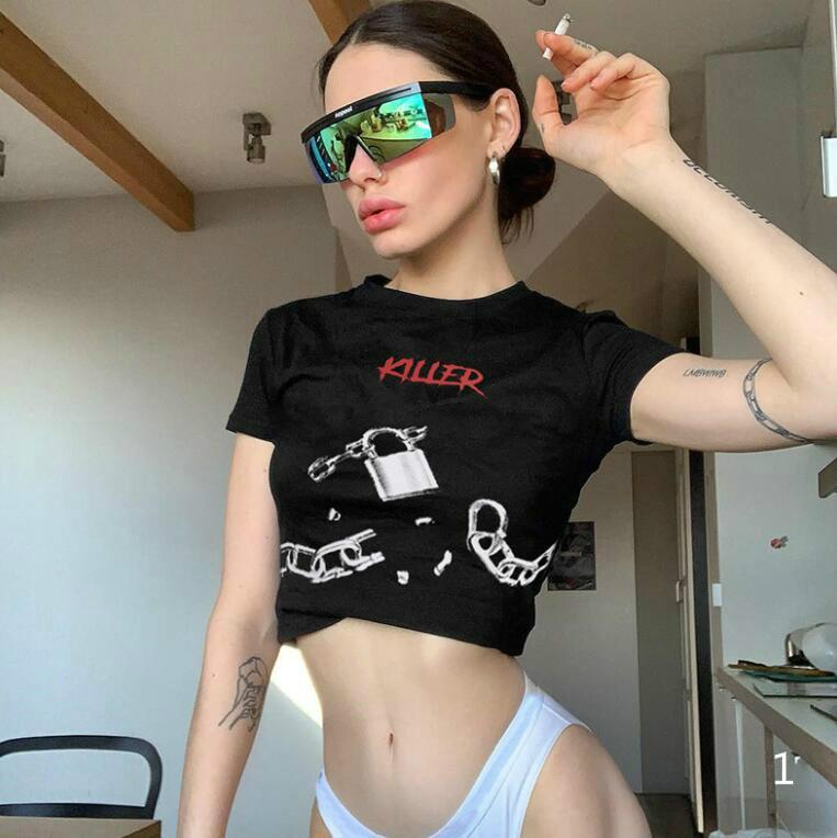 Diseñador 20ss Mujeres camiseta de verano Camiseta con letras impresas Sexy Manga corta camiseta Mujer Tops S-L Clothings PH-WN20578